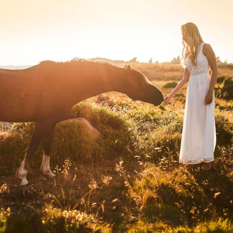 häst och kvinna i sommarklänning lya ljunghed båstad